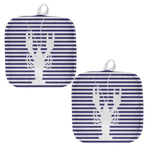 Lobster Navy Nautical Stripes All Over Pot Holder (Set of 2)