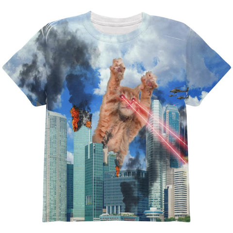 Giant Cat Laser Rampage and Destroy All Over Youth T Shirt
