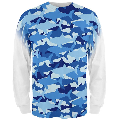 Great White Shark Camo All Over Mens Long Sleeve T Shirt