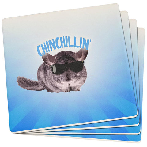 Chinchillin Chinchilla Set of 4 Square Sandstone Coasters