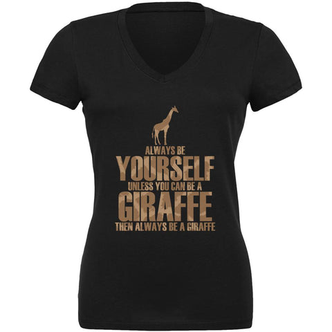 Always Be Yourself Giraffe Juniors V-Neck T Shirt