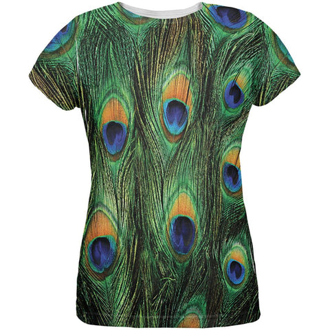 Peacock Feathers All Over Womens T Shirt