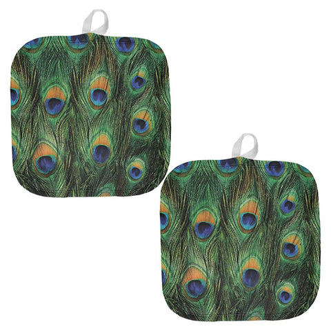 Peacock Feathers All Over Pot Holder (Set of 2)