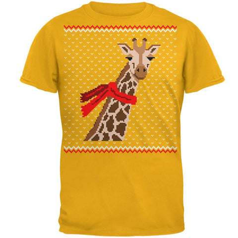Big Giraffe Scarf Ugly Christmas Sweater Mens T Shirt
