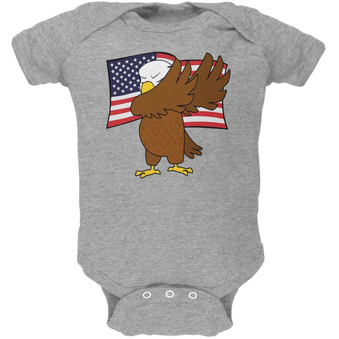 4th Of July America Dabbing Bald Eagle Soft Baby One Piece
