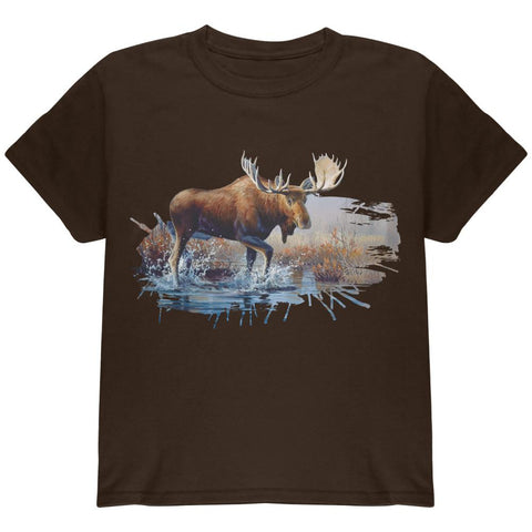 Moose Crossing the River Youth T Shirt