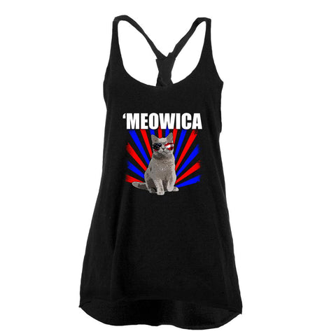 Cat 4th of July Meowica Juniors Twist Tank Top