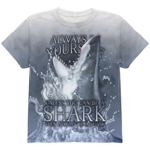 Always Be Yourself Unless Great White Shark All Over Youth T Shirt
