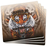 Always Be Yourself Unless Wild Tiger Set of 4 Square Sandstone Coasters