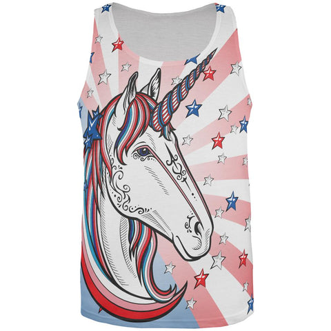 4th of July Freedom is Magical Unicorn All Over Mens Tank Top