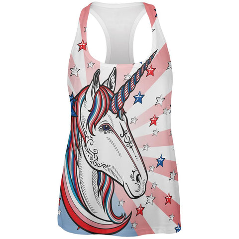 4th of July Freedom is Magical Unicorn All Over Womens Work Out Tank Top