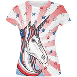 4th of July Freedom is Magical Unicorn All Over Juniors T Shirt