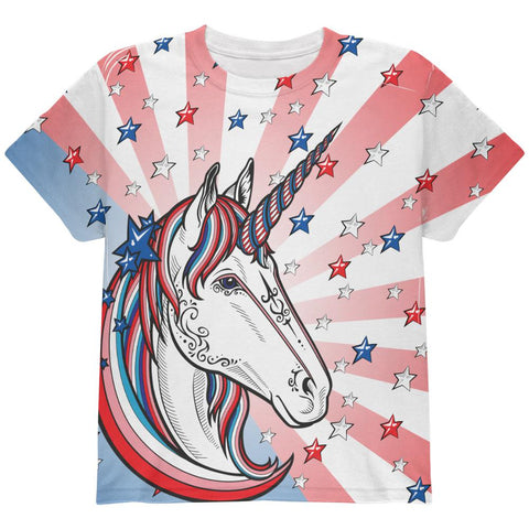 4th of July Freedom is Magical Unicorn All Over Youth T Shirt