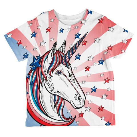 4th of July Freedom is Magical Unicorn All Over Toddler T Shirt