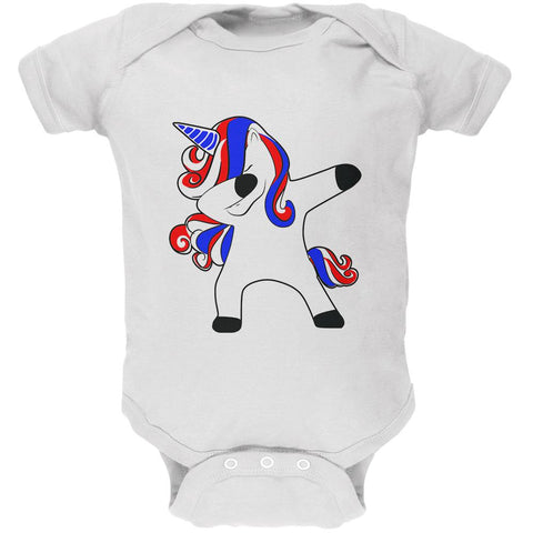 4th of July Dabbing Unicorn Americorn Soft Baby One Piece
