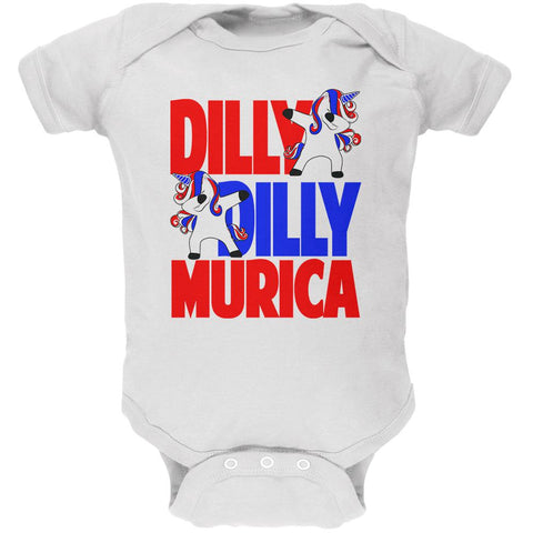 4th of July Dilly Dilly Murica Dabbing Unicorn Soft Baby One Piece