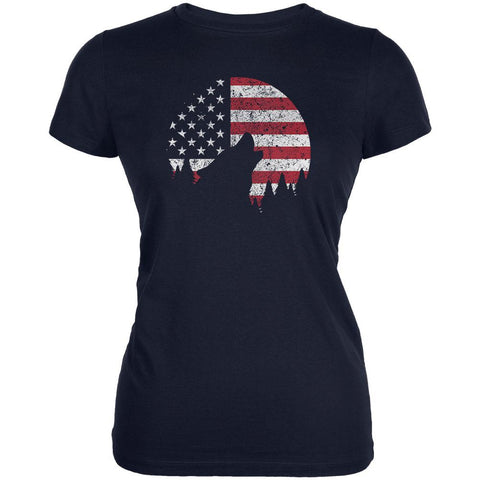 4th Of July Wolf Silhouette Flag Moon Juniors Soft T Shirt
