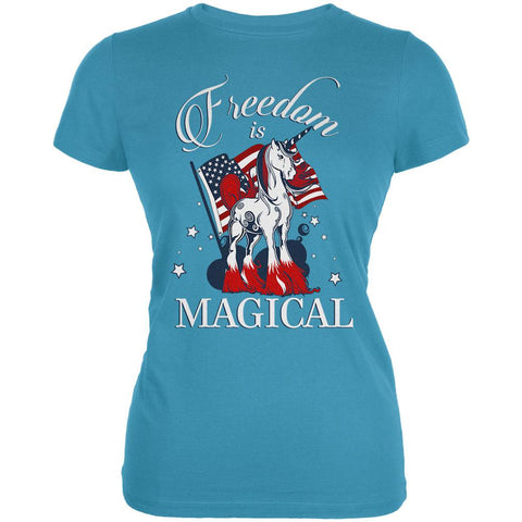 5a9f376ec 4th Of July Freedom Is Magical Unicorn Juniors Soft T Shirt