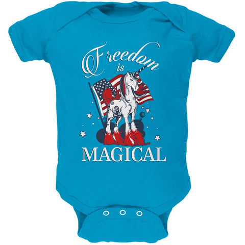 4th Of July Freedom Is Magical Unicorn Soft Baby One Piece