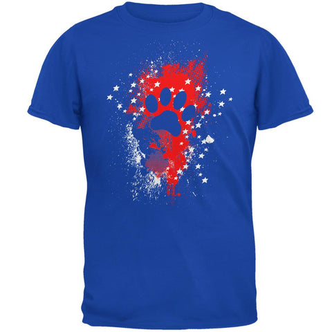 4th of July Puppy Dog Paw Print Stars and Splatters Mens Soft T Shirt