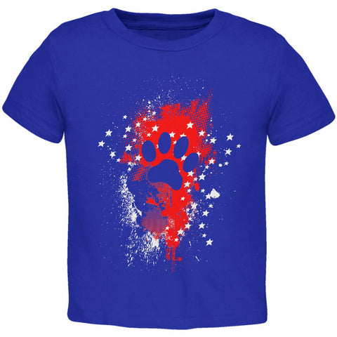 4th of July Puppy Dog Paw Print Stars and Splatters Toddler T Shirt