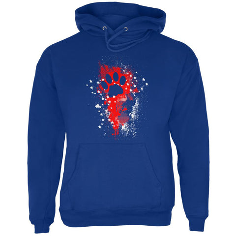 4th of July Kitty Cat Paw Print Stars and Splatters Mens Hoodie