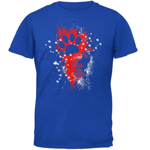 4th of July Kitty Cat Paw Print Stars and Splatters Mens Soft T Shirt