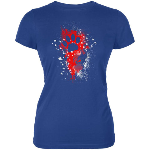 4th of July Kitty Cat Paw Print Stars and Splatters Juniors Soft T Shirt