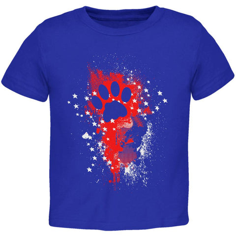 4th of July Kitty Cat Paw Print Stars and Splatters Toddler T Shirt