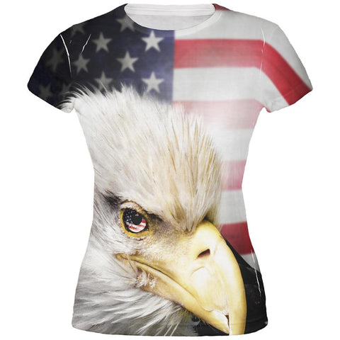 4th of July American Bald Eagle Eye Flag All Over Juniors T Shirt