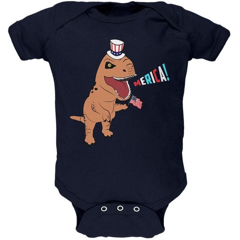 4th Of July Merica Patriotic T-Rex Dinosaur Soft Baby One Piece