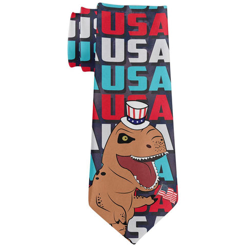4th Of July USA Patriotic T-Rex All Over Neck Tie