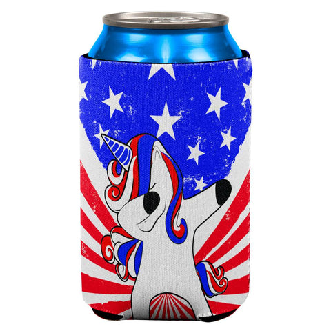 4th of July Dabbing Unicorn Americorn All Over Can Cooler