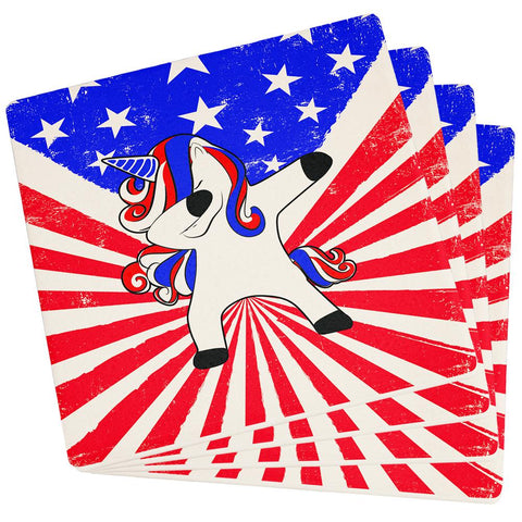 4th of July Dabbing Unicorn Americorn Set of 4 Square Sandstone Coasters