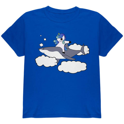 Dabbing Unicorn Riding Shark In The Sky Youth T Shirt