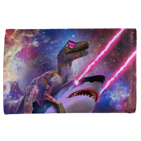 Velociraptor Laser Shark in Space All Over Hand Towel