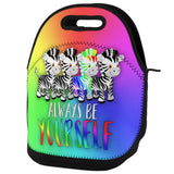 Always Be Yourself Rainbow Zebra Lunch Tote Bag