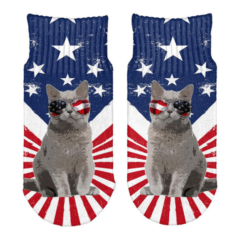 4th Of July Meowica America Patriot Cat All Over Toddler Ankle Socks