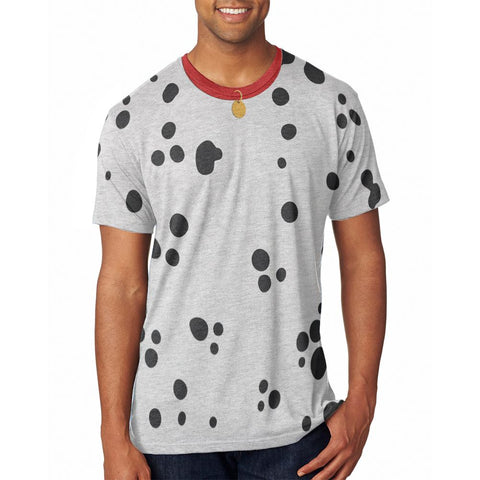 Dog Dalmatian Costume Red Collar Mens Soft T Shirt