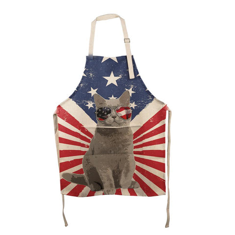 4th Of July Meowica America Patriot Cat All Over Apron