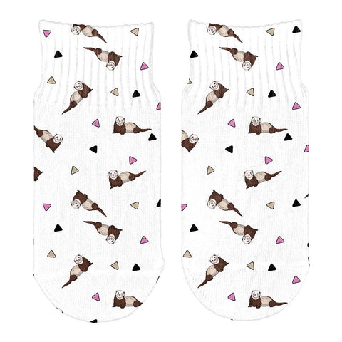 Retro Ferret Pattern All Over Toddler Ankle Socks