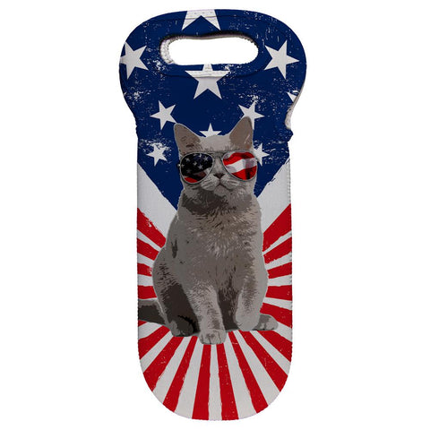 4th Of July Meowica America Patriot Cat Wine Tote Bag