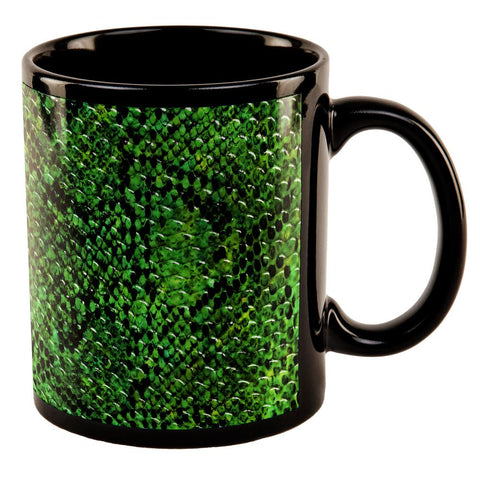 Halloween Green Snake Snakeskin All Over Black Out Coffee Mug