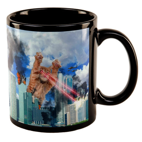 Giant Cat Laser Rampage and Destroy All Over Black Out Coffee Mug