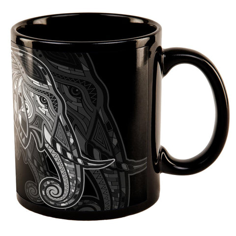 Tribal Elephant All Over Black Out Coffee Mug