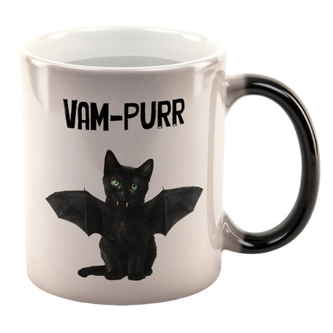 Halloween Cat Vampire Vam-purr All Over Heat Changing Coffee Mug