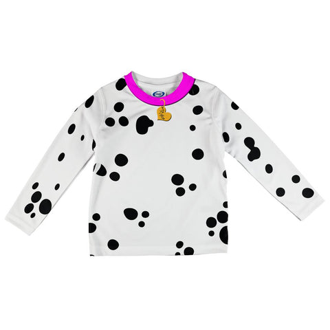 Valentine's Day Dog Dalmatian Costume Pink Collar All Over Toddler Long Sleeve T Shirt