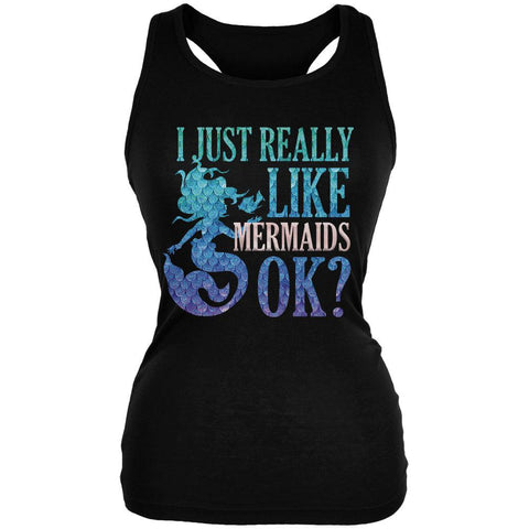 I Just Really Like Mermaids Ok Scales Juniors Soft Tank Top