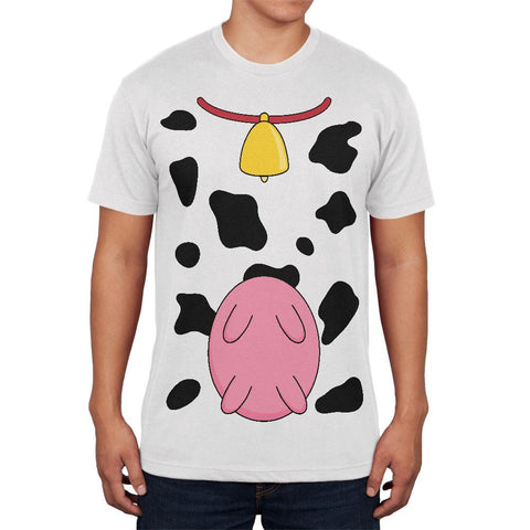 Halloween Cow Costume Udders Funny Mens Soft T Shirt