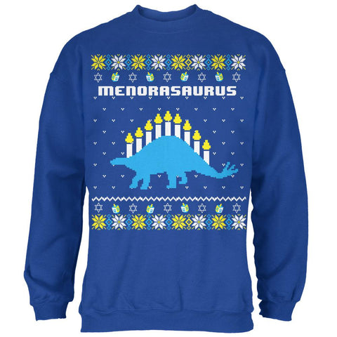 Hanukkah Ugly Sweater Menorasaurus Menorah Stegasaurus Mens Sweatshirt